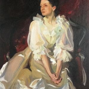 (CreativeWork) Some old posh lass...Sargent study by Chris Martin. oil-painting. Shop online at Bluethumb.