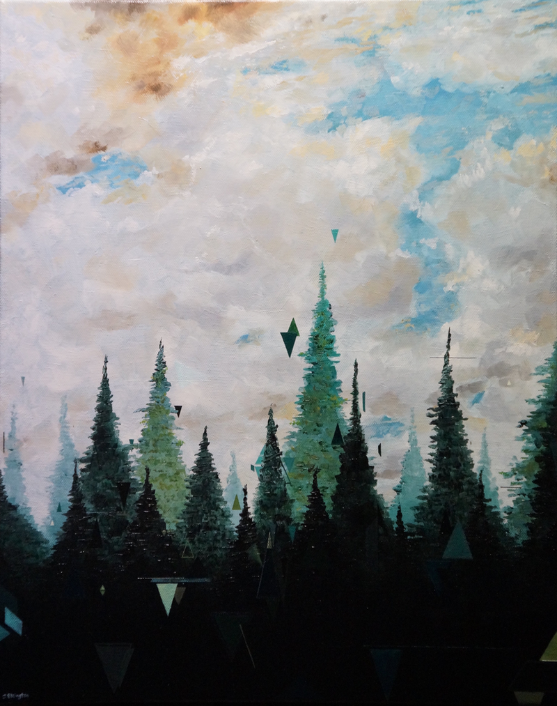 (CreativeWork) Up High by Jeremy Elkington. oil-painting. Shop online at Bluethumb.