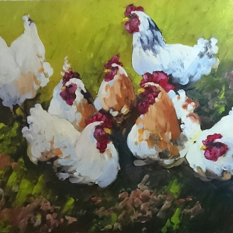 (CreativeWork) Meeting of the Egg Maker's Guild  by Glen Mackay. Oil Paint. Shop online at Bluethumb.