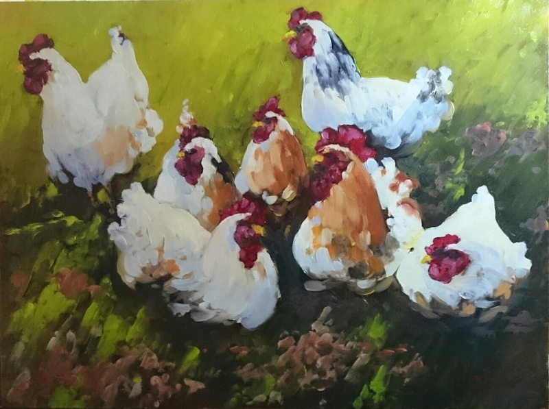 (CreativeWork) Meeting of the Egg Maker's Guild  by Glen Mackay. oil-painting. Shop online at Bluethumb.