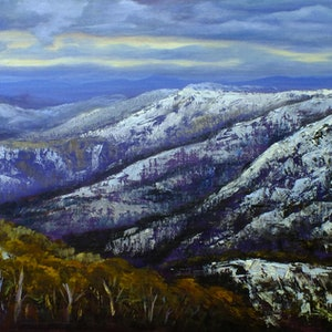 (CreativeWork) Last lights from Mount Hotham, Victoria by Christopher Vidal. oil-painting. Shop online at Bluethumb.
