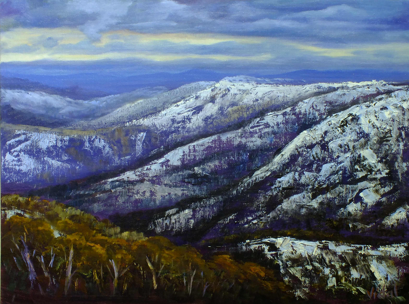 (CreativeWork) Last lights from Mount Hotham, Victoria by Christopher Vidal. Oil Paint. Shop online at Bluethumb.