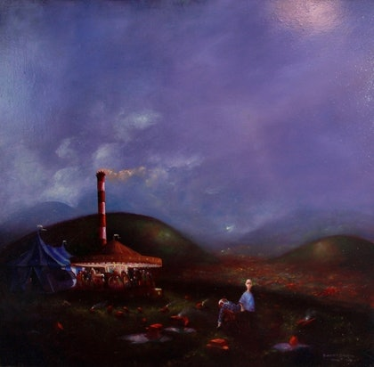 (CreativeWork) Death at the fairground by John Moran. oil-painting. Shop online at Bluethumb.