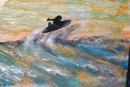 (CreativeWork) Dawn Patrol by tracey grivell. mixed-media. Shop online at Bluethumb.