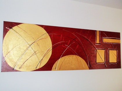 (CreativeWork) Golden glow by Kerrie Hughes. arcylic-painting. Shop online at Bluethumb.