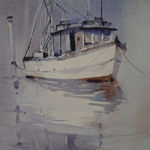 (CreativeWork) TRAWLER by Anki Wickison. watercolour. Shop online at Bluethumb.