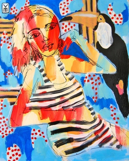 (CreativeWork) Paradise Girl by Yosi Messiah. mixed-media. Shop online at Bluethumb.