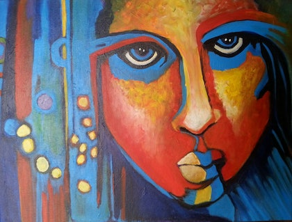 (CreativeWork) Woman No.3 by kezz hall. arcylic-painting. Shop online at Bluethumb.
