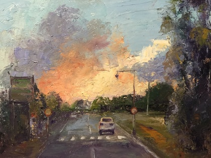 (CreativeWork) Sunset on Christine Ave Burleigh  by Carol D'Arcy. oil-painting. Shop online at Bluethumb.