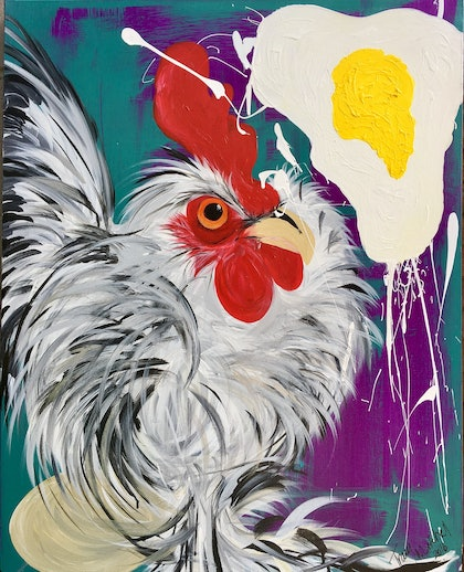 (CreativeWork) Eggstravaganza  by Tracy Mitchell. arcylic-painting. Shop online at Bluethumb.