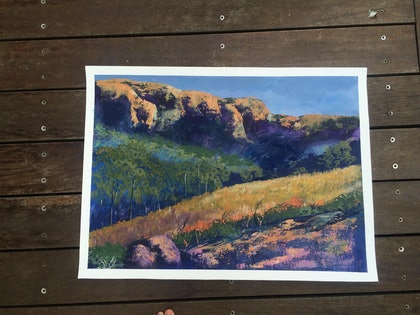 (CreativeWork) Blue Mountains by James Read. arcylic-painting. Shop online at Bluethumb.