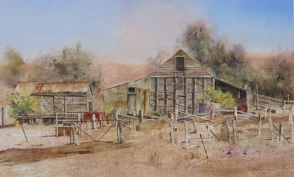 (CreativeWork) Morgans Barn, Yea by malcolm Webster. watercolour. Shop online at Bluethumb.
