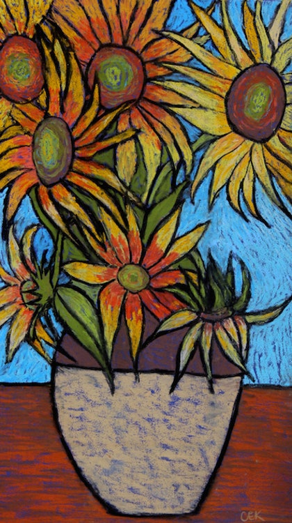 (CreativeWork) Sunflowers by Charlotte Kimberlee. other-media. Shop online at Bluethumb.