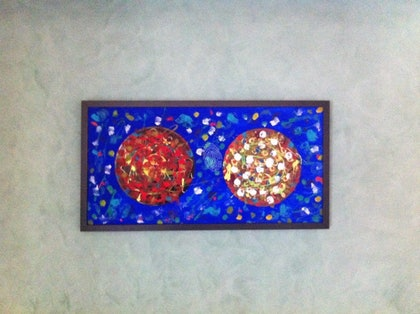 (CreativeWork) Pizza Night  by Hapi Jack. oil-painting. Shop online at Bluethumb.