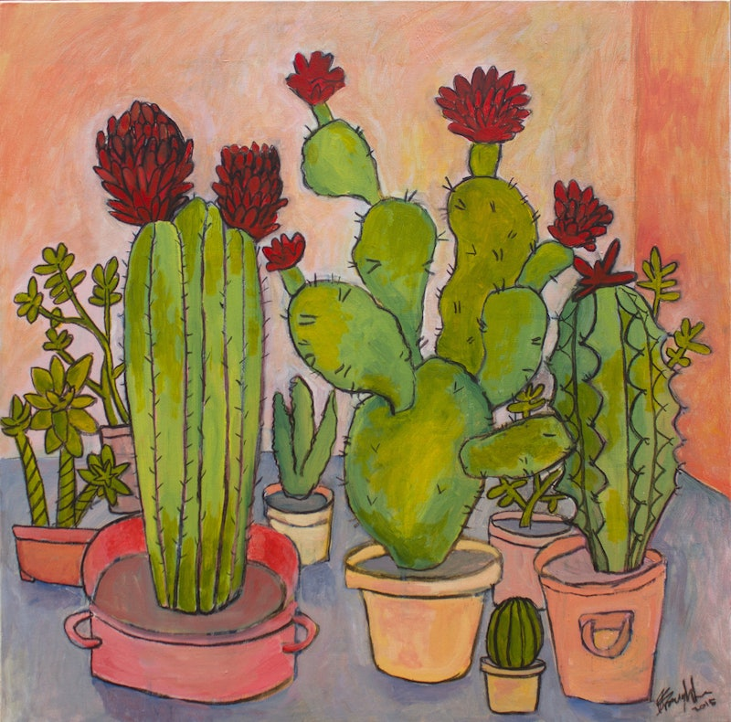cacti and succulents still life by matthew broughton paintings