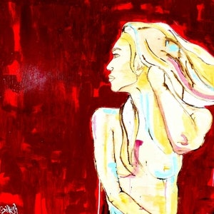 (CreativeWork) Scarlett Thoughts  by Salleigh Olsen. arcylic-painting. Shop online at Bluethumb.