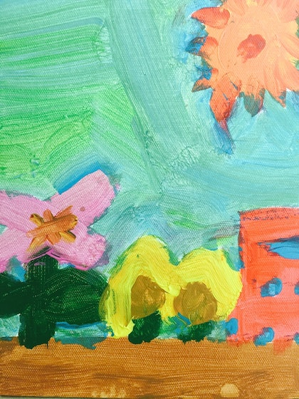 (CreativeWork) blooming and blazing by James Crozier. arcylic-painting. Shop online at Bluethumb.