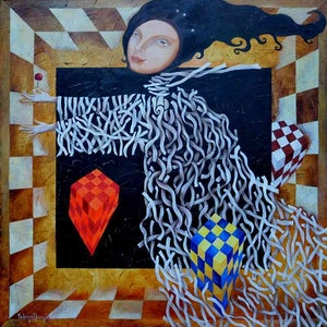 (CreativeWork) Through the labyrinth - original oil on canvas abstract surreal painting on stretched canvas, ready to hang. by Yelena Revis. #<Filter:0x00005589e89eeea0>. Shop online at Bluethumb.