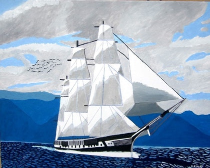 (CreativeWork) The Sailing Boat (Fregot) by Roy Huff. arcylic-painting. Shop online at Bluethumb.