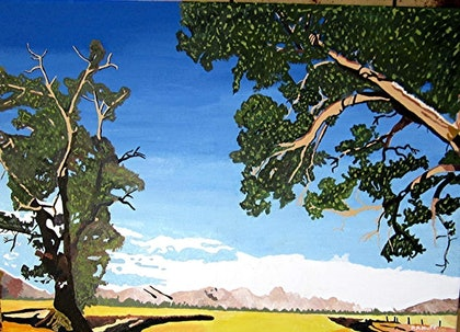 (CreativeWork) Country Landscape by Roy Huff. arcylic-painting. Shop online at Bluethumb.