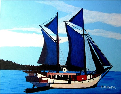 (CreativeWork) Yacht Resting in a Bay  by Roy Huff. arcylic-painting. Shop online at Bluethumb.