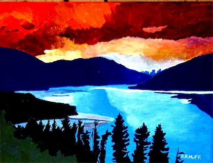 (CreativeWork) The Begining of Sunrise over the Lake  by Roy Huff. arcylic-painting. Shop online at Bluethumb.