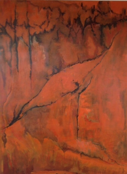 (CreativeWork) Red Earth by Kasia Hartmann. arcylic-painting. Shop online at Bluethumb.