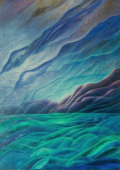 (CreativeWork) Great Southern Ocean by Barbara Vonk. oil-painting. Shop online at Bluethumb.