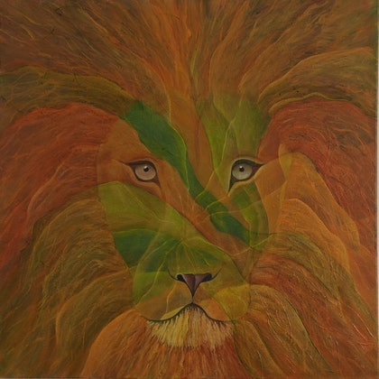 (CreativeWork) Leo in the Jungle by Barbara Vonk. oil-painting. Shop online at Bluethumb.