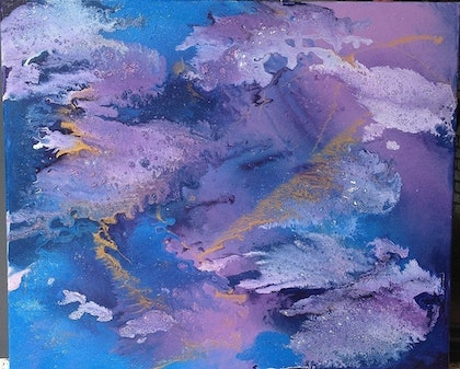 (CreativeWork) Water Lilies by Lauren Smith. arcylic-painting. Shop online at Bluethumb.