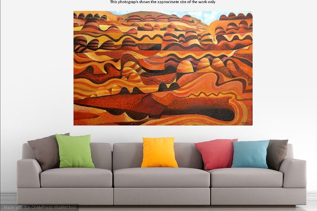 (CreativeWork) Striped Hills by John Graham. #<Filter:0x000056097086fae0>. Shop online at Bluethumb.