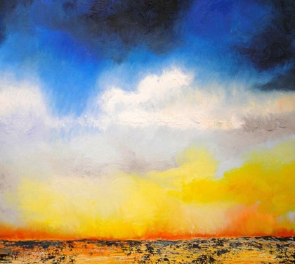 (CreativeWork) On the Bay by Norma Tahhan. oil-painting. Shop online at Bluethumb.
