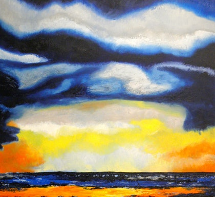 (CreativeWork) Storm on the Bay by Norma Tahhan. oil-painting. Shop online at Bluethumb.