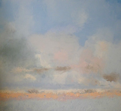 (CreativeWork) Misty Morning on the Bay by Norma Tahhan. oil-painting. Shop online at Bluethumb.