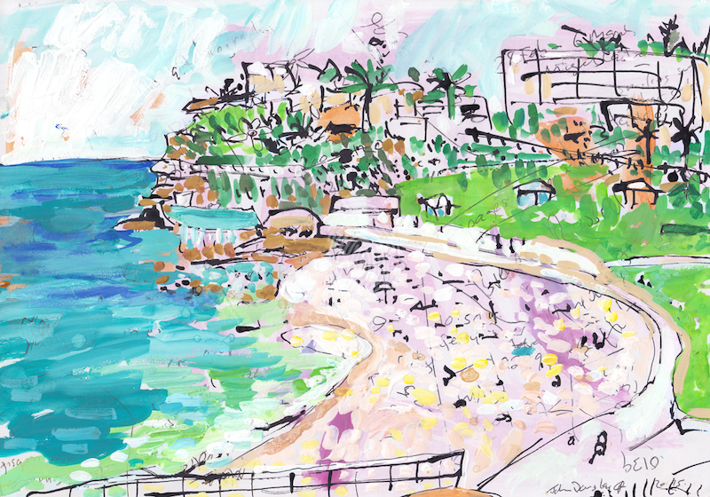(CreativeWork) Bronte Beach by John Douglas. Mixed Media. Shop online at Bluethumb.