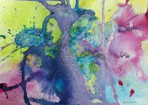 (CreativeWork) Wonderland by Cathy Gilday. Mixed Media. Shop online at Bluethumb.
