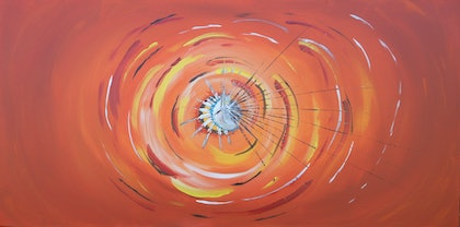(CreativeWork) Orange Rapture by Michaela Brown. arcylic-painting. Shop online at Bluethumb.