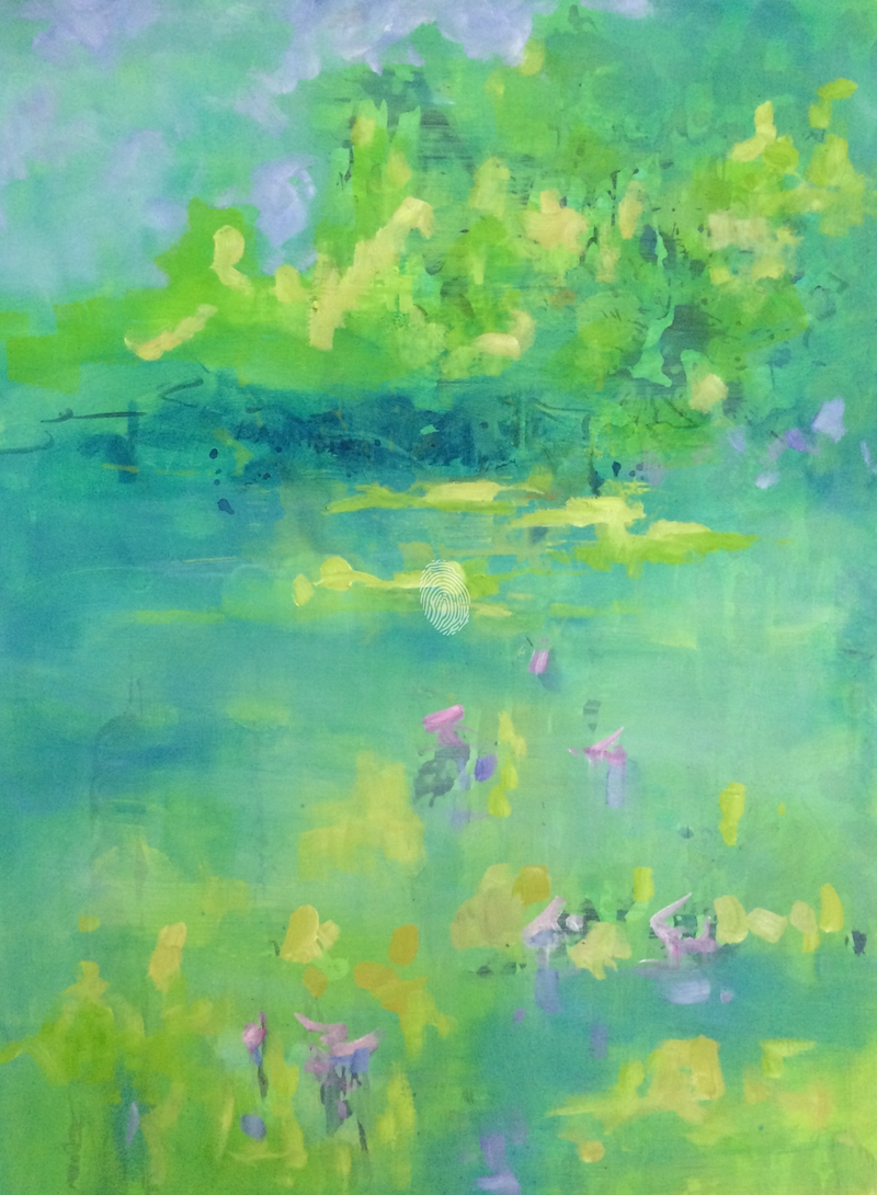 (CreativeWork) Summer lake 6 by sue bannister. oil-painting. Shop online at Bluethumb.