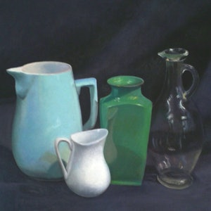 (CreativeWork) Still life - Green Vase & Glass Jug by Ishbel Morag Miller. oil-painting. Shop online at Bluethumb.