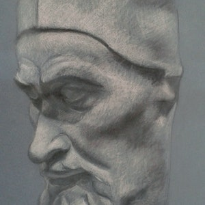 (CreativeWork) Drawing - The Pope - plaster cast by Ishbel Morag Miller. drawing. Shop online at Bluethumb.