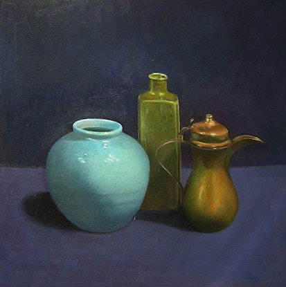 (CreativeWork) Still life - Copper Pot & Blue Vase by Ishbel Morag Miller. Oil Paint. Shop online at Bluethumb.