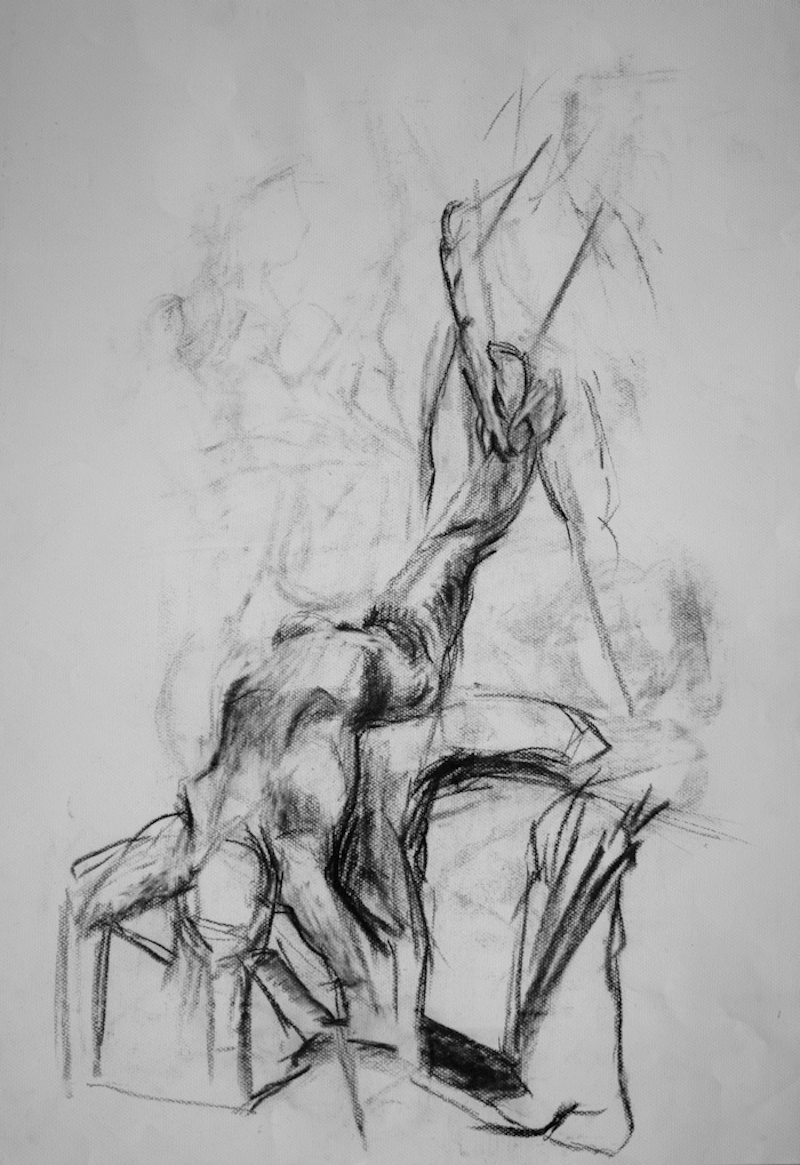 (CreativeWork) Life Drawing - Stretched Woman by Ishbel Morag Miller. drawing. Shop online at Bluethumb.