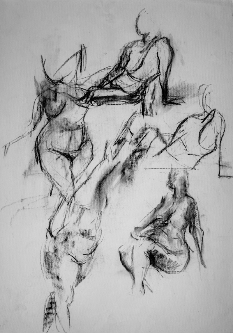 (CreativeWork) Life Drawing - Woman Sitting & Standing by Ishbel Morag Miller. drawing. Shop online at Bluethumb.