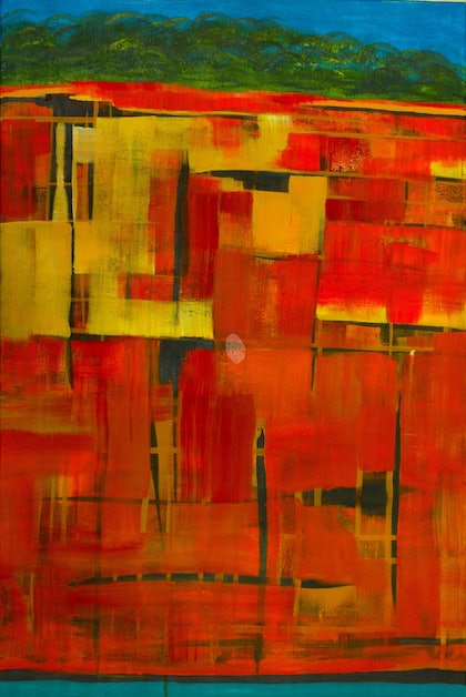 (CreativeWork)  Cliff Colours by Anita Howard. arcylic-painting. Shop online at Bluethumb.