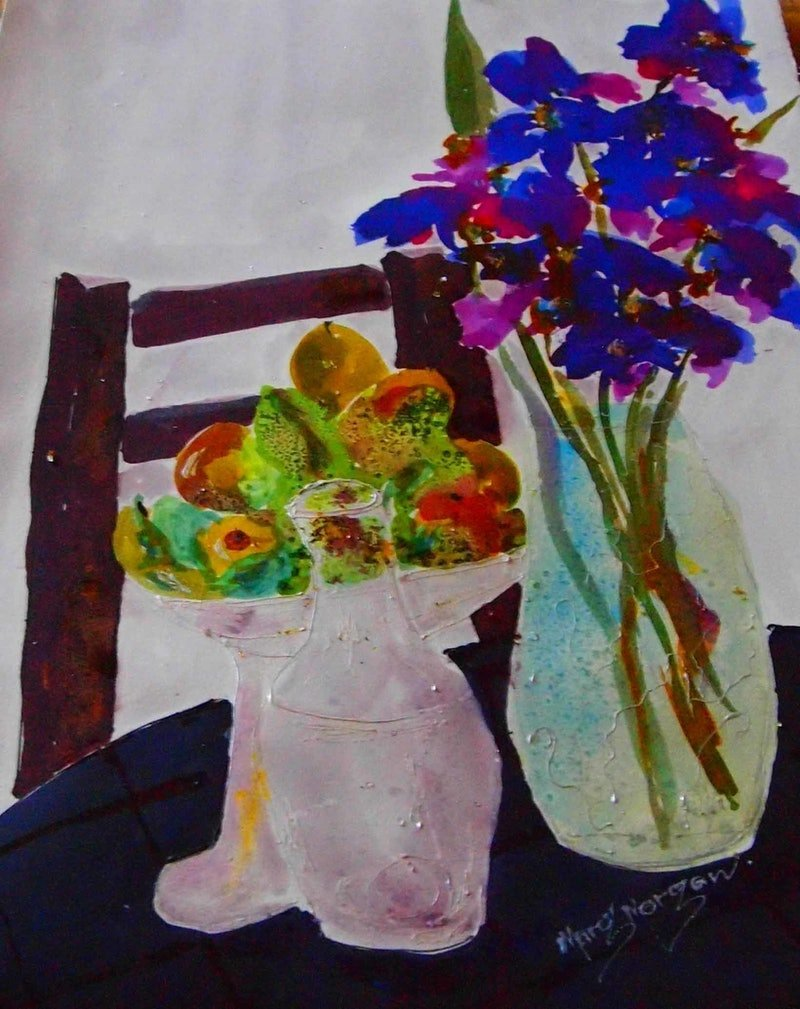 Blue Flowers On Fabriano Smooth Painted With Silk Paint Still Life