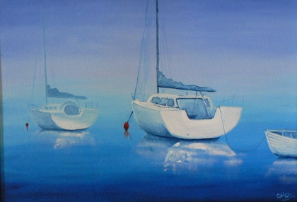 (CreativeWork) MORNING @ MORNINGTON by CALVIN BELL. oil-painting. Shop online at Bluethumb.