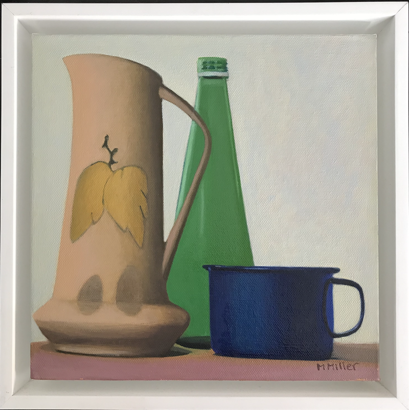 (CreativeWork) Still life - Yellow Vase & Blue Cup by Ishbel Morag Miller. Oil Paint. Shop online at Bluethumb.