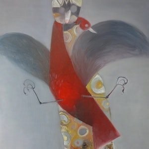 (CreativeWork) Red Dove  by John Graham. oil-painting. Shop online at Bluethumb.