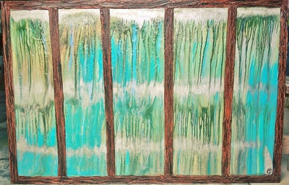 (CreativeWork) Calming magical rain by tracey grivell. mixed-media. Shop online at Bluethumb.