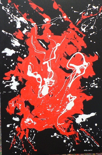 (CreativeWork) Simply Red by ZAIDE BELINI. mixed-media. Shop online at Bluethumb.